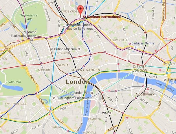 lokatie treinstation londen map
