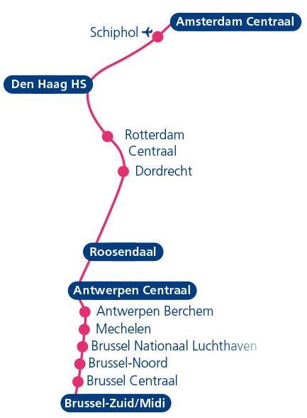 route ic trein brussel zuid antwerpen centraal amsterdam